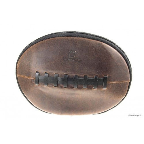 """Fiamma di Re Leather """"Rugby Ball"""" pouch for 2 pipes, tobacco and accessories"""