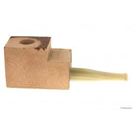 """Bruyère troué avec tuyau plein en acrylique """"corne"""" pour pipes droites"""
