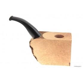 Bloque brezo extra-extra con boquilla en metacrilato negro por pipas curvas