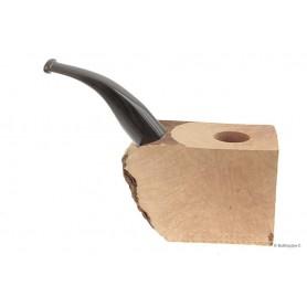 """Bruyère troué avec tuyau plein en acrylique """"buffle"""" pour pipes courbes"""