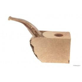 """Bruyère troué avec tuyau plein en acrylique """"bois"""" pour pipes courbes"""