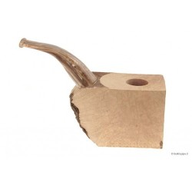 """Ciocco di radica extra-extra con bocchino pieno in metacrilato """"legno"""" - pipe curve"""
