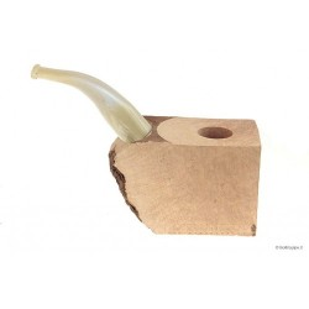 """Bruyère troué avec tuyau plein en acrylique """"corne"""" pour pipes courbes"""