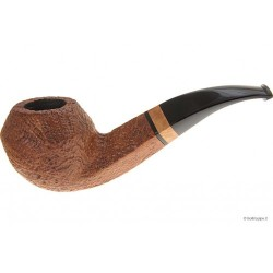 Gilli Pipe - Bent Rhodesian - Sandblast * * * with briar inlay