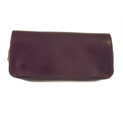Arcadia leather pouch for 2 pipes, tobacco and accessories - Bordeaux