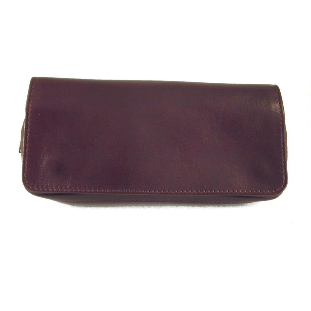 Arcadia sac pour tabac, accessoires et 2 pipes en cuir - Bordeaux
