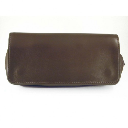 Arcadia leather pouch for 2 pipes, tobacco and accessories - Brown