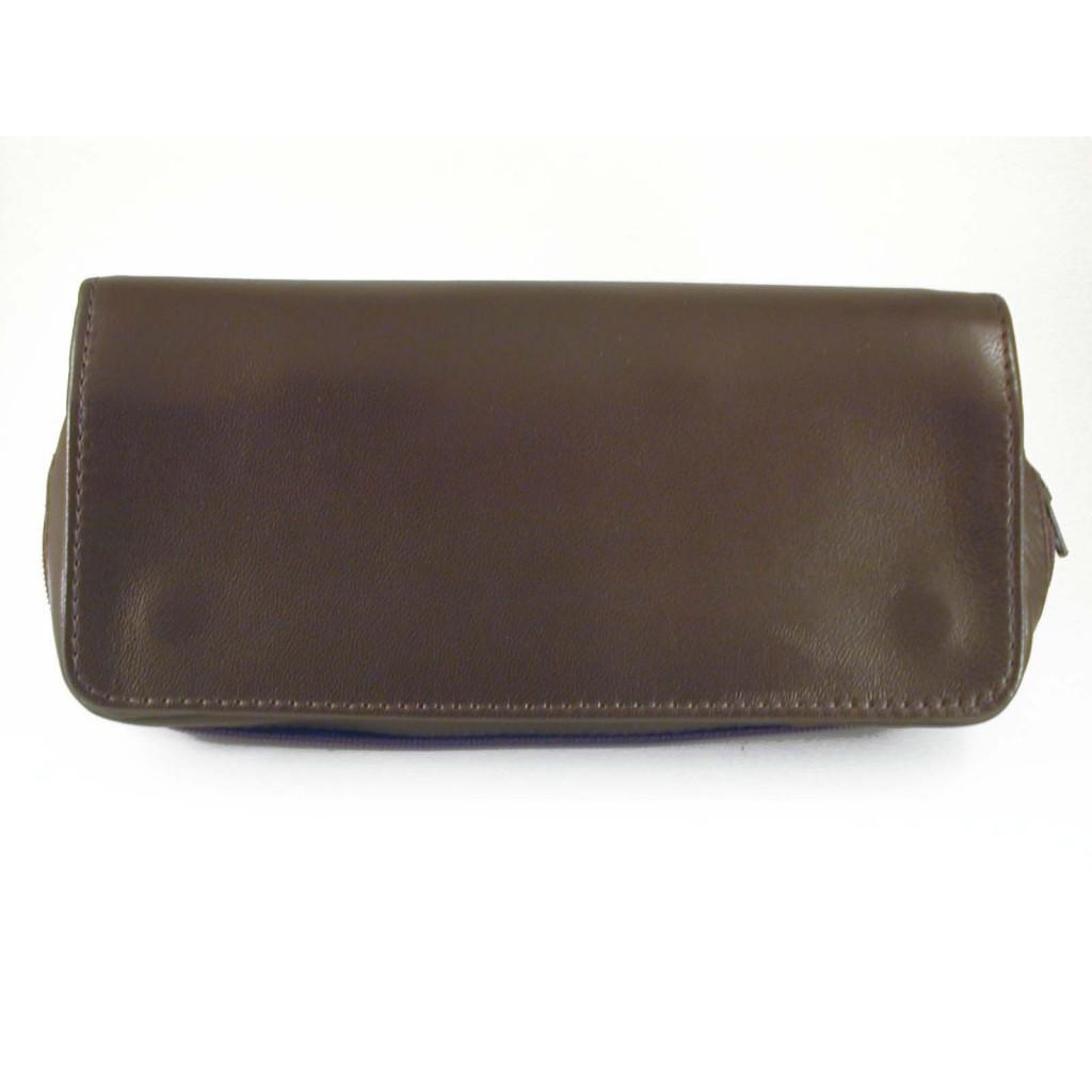 Arcadia sac pour tabac, accessoires et 2 pipes en cuir - Marron