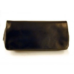 Arcadia leather pouch for 2 pipes, tobacco and accessories - Black
