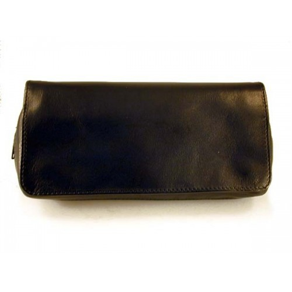 Arcadia bolsa en piel para 2 pipas, tabaco y accesorios - Negro
