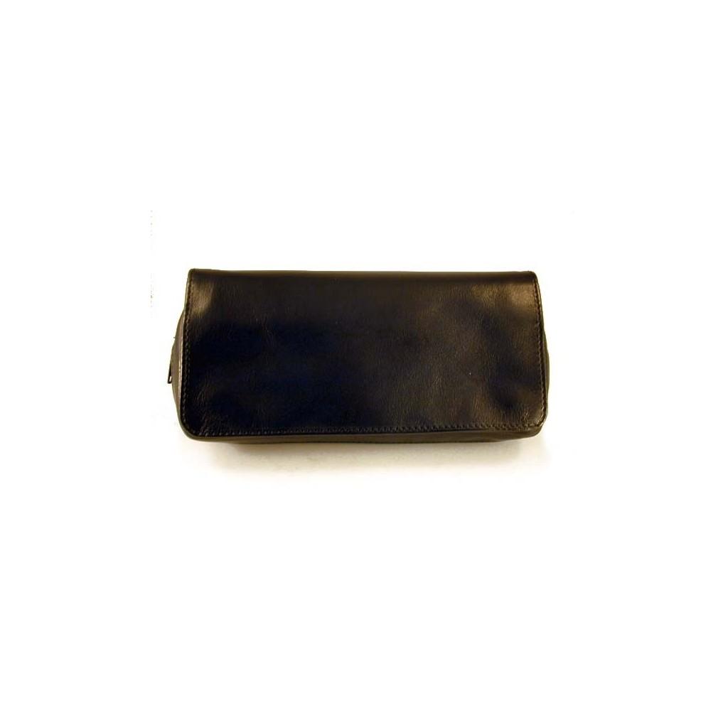 Arcadia sac pour tabac, accessoires et 2 pipes en cuir - Noir