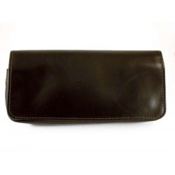 Arcadia leather pouch for 2 pipes, tobacco and accessories - Dark brown
