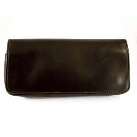 Arcadia sac pour tabac, accessoires et 2 pipes en cuir - Sombre marron