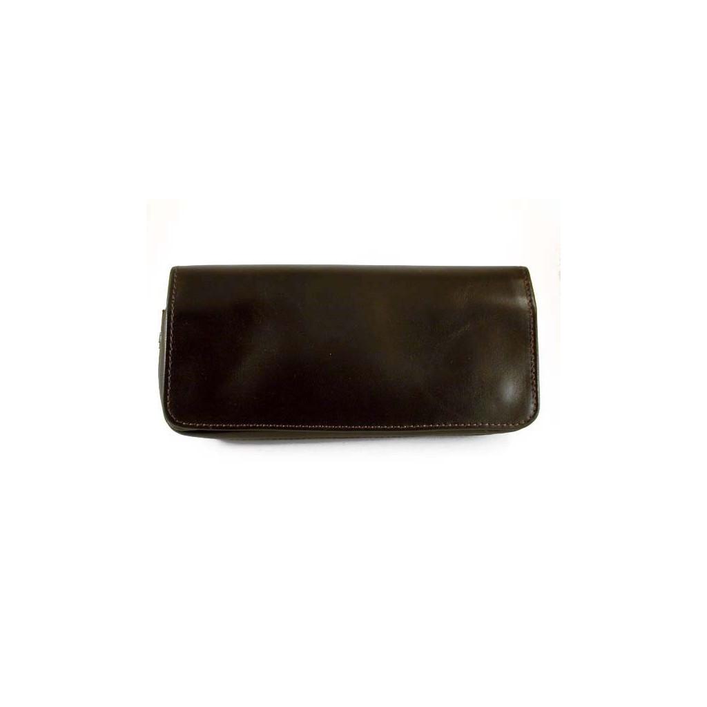 Arcadia bolsa en piel para 2 pipas, tabaco y accesorios - Marrón oscuro