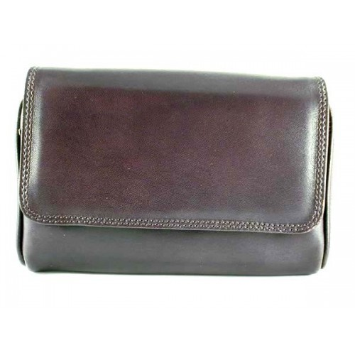 Arcadia leather pouch for 3 pipes, tobacco and accessories - Dark Brown