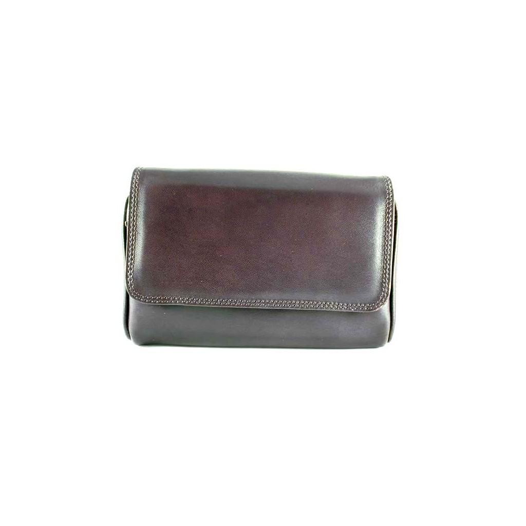 Arcadia sac pour tabac, accessoires et 3 pipes en cuir - Sombre marron