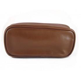 Castello bolsa en piel para 2 pipas y tabaco - Marròn