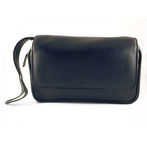 Peterson black leather pouch for 2 pipes, tobacco and accessories