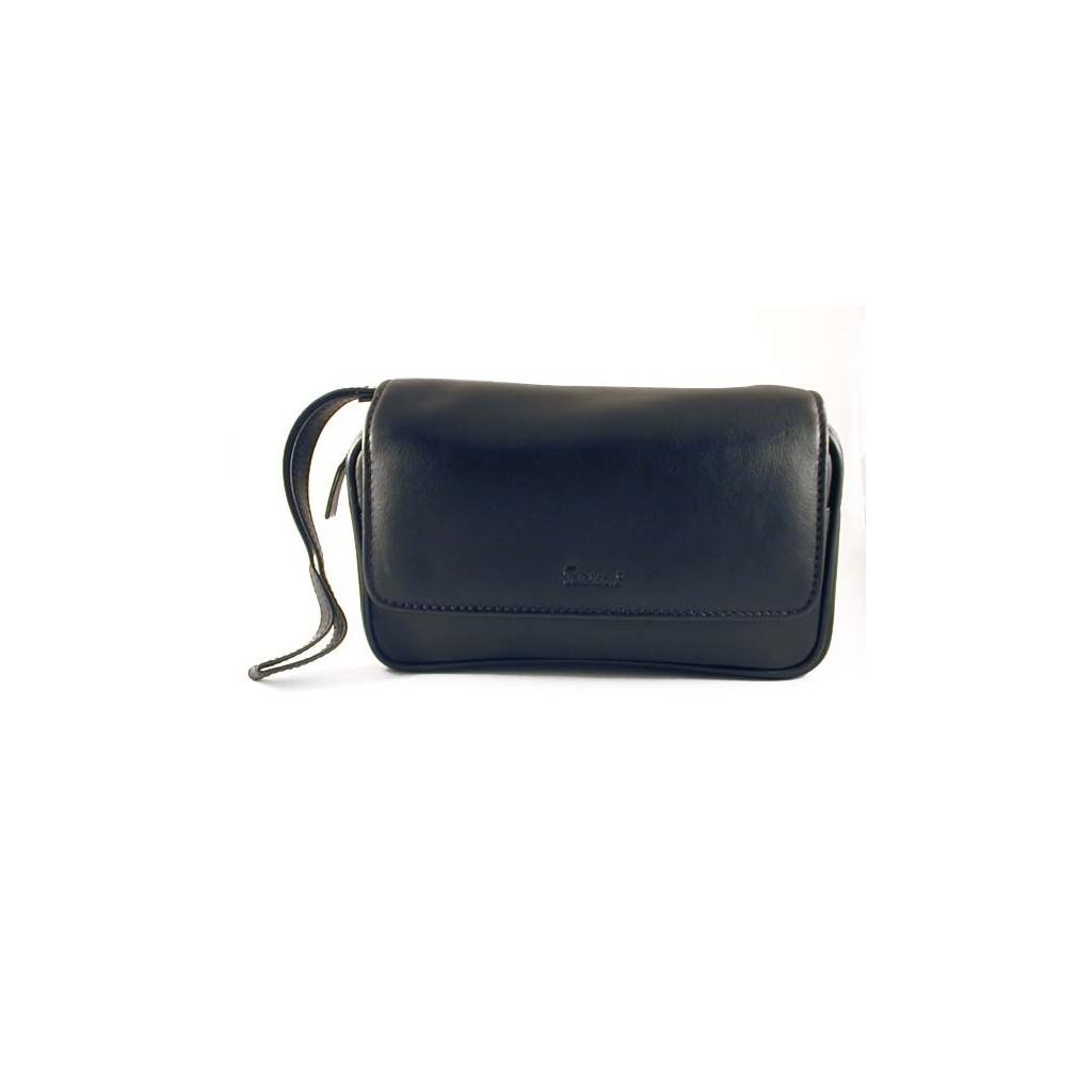 Peterson bolsa en piel negra para 2 pipas, tabaco y accessorios