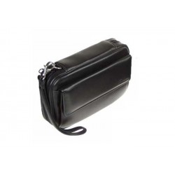 Trousse Peterson in nappa nera per 4 pipe, tabacco e accessori