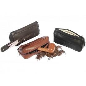 Bolsa en piel para pipas, tabaco y accessorios, 2 zip y bolsillo