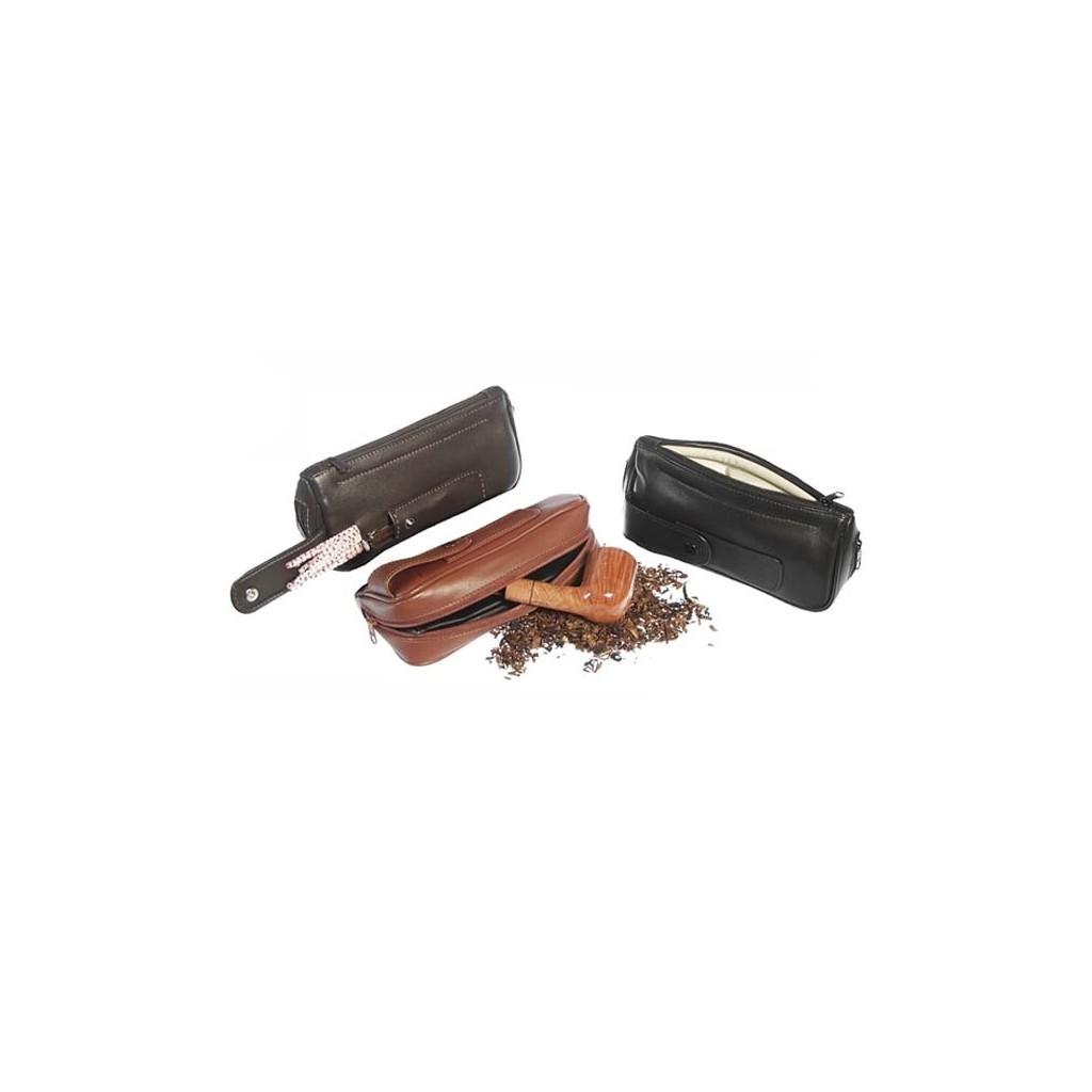Borsa in nappa per pipa, tabacco e accessori 2 zip e taschino