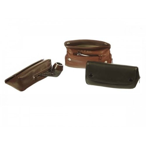 "Leather pouch for pipe, tobacco and accessories, ""2 buttons"""