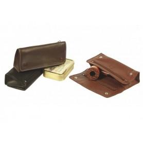 Bolsa en piel para 2 pipas, 2 tabacos y accessorios