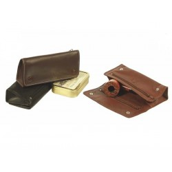 Leather pouch for 1 or 2 pipes, 2 tobacco and accessories