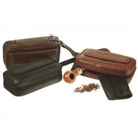 Trousse in nappa per 2 pipe, accessori e portatabacco estraibile
