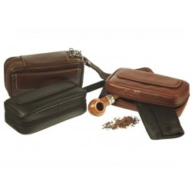 Trousse pour 2 pipes et tabac en cuir
