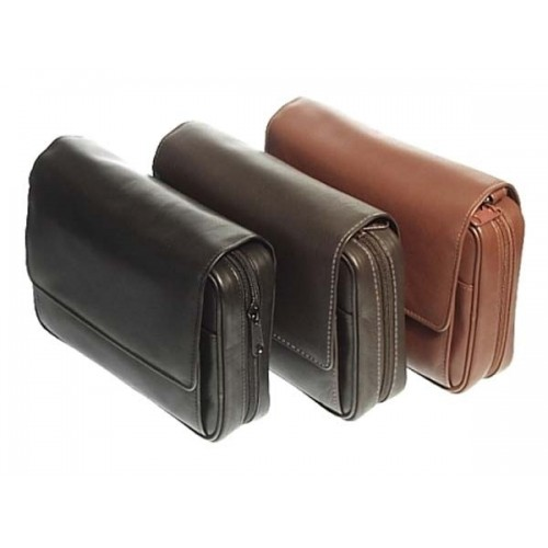Leather trousse for 4 pipes, tobacco and accessories