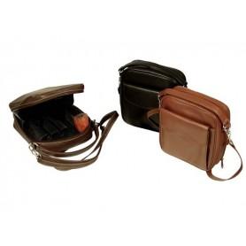 Trousse in nappa per 8 pipe, accessori e portatabacco, con tracolla