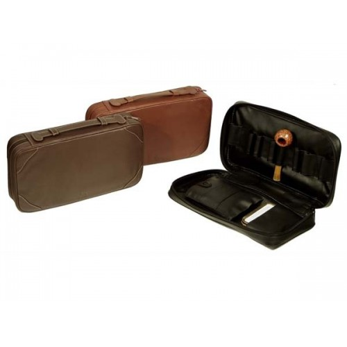 Trousse in nappa per 8 pipe, accessori e portatabacco