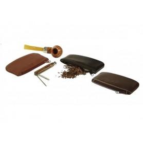 Bolsa en piel para tabacos con zip