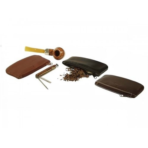 Leather tobacco pouch with zip
