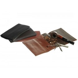 "Leather tobacco pouch ""Roll up"" with zip"
