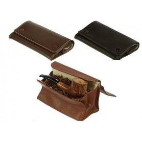 """Sac pour tabac en cuir, """"grand box avec 2 boutons"""""""