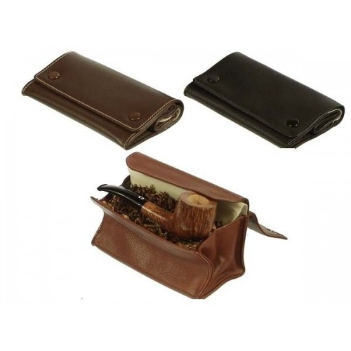 "Leather tobacco pouch ""big box with 2 buttons"""