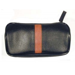 Leather imitation pouch for 2 pipes, tobacco and accessories