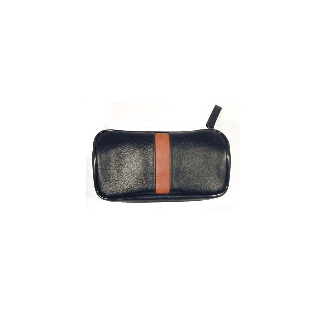 Bolsa en imitación piel para 2 pipas, tabaco y accessorios