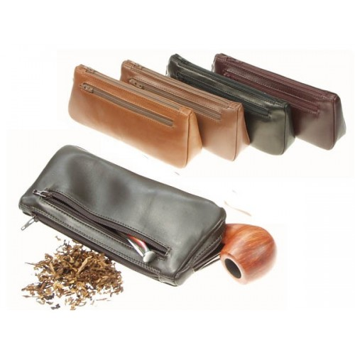 "Leather pouch for pipe, tobacco and accessories, ""3 Zip"""