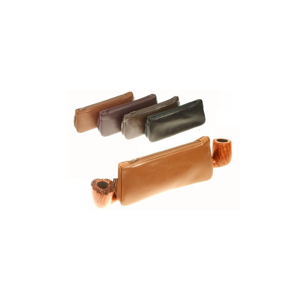 Bolsa en piel para 2 pipas, tabacos y accessorios
