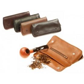 """Bolsa en piel """"2 botones"""" para pipa, tabacos y accessorios"""
