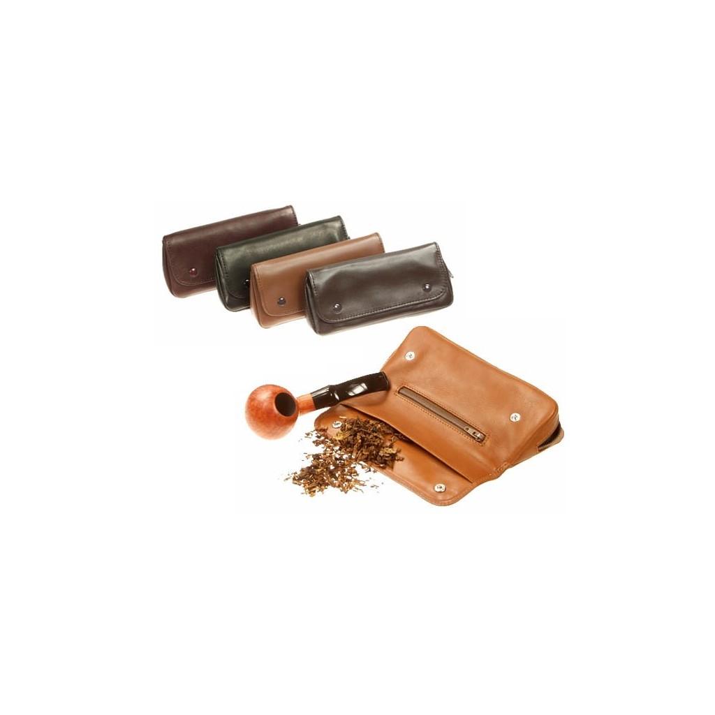 """Sac """"2 boutons"""" pour pipe et tabacs en cuir"""