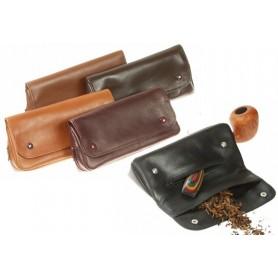 """Sac """"2 boutons grand"""" pour pipe et tabacs en cuir"""