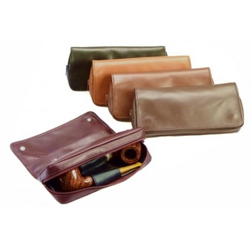 "Leather pouch ""2 buttons big"" for 2 pipes, tobacco and accessories"