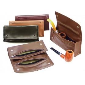 """Bolsa en piel """"2 botones"""" para 2 pipas, 2 tabacos y accessorios"""