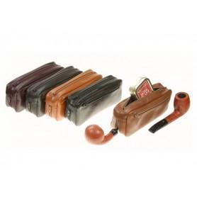 Trousse pour 2 pipes et tabacs en cuir