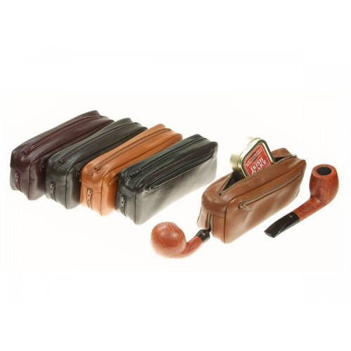 Leather trousse for 2 pipes, tobacco and accessories